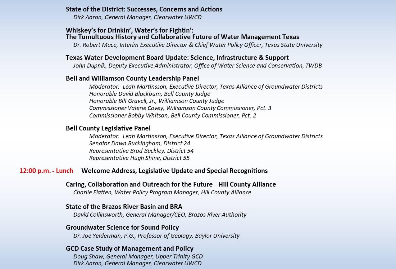 Bell County Water Symposium — AGENDA